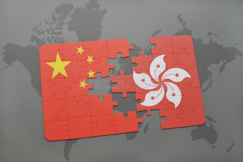 Puzzle with the national flag of china and hong kong on a world map download puzzle with the national flag of china and hong kong on a world map background gumiabroncs Images