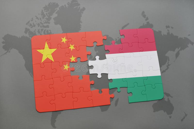 Puzzle with the national flag of china and hungary on a world map download puzzle with the national flag of china and hungary on a world map background gumiabroncs Choice Image