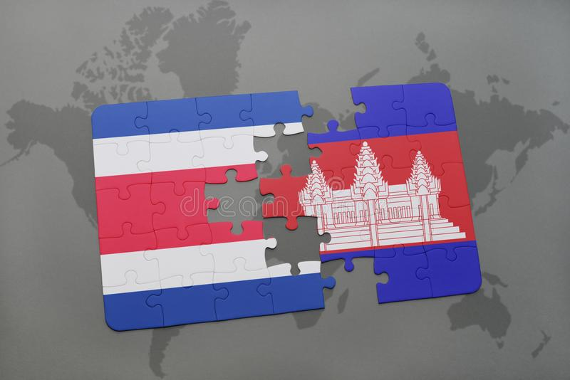 puzzle with the national flag of costa rica and cambodia on a world map royalty free illustration