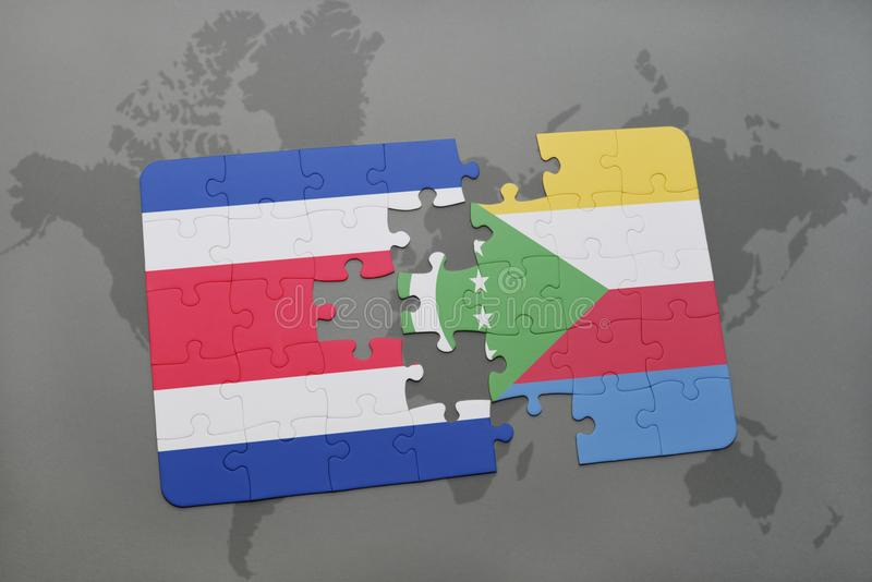 puzzle with the national flag of costa rica and comoros on a world map royalty free illustration