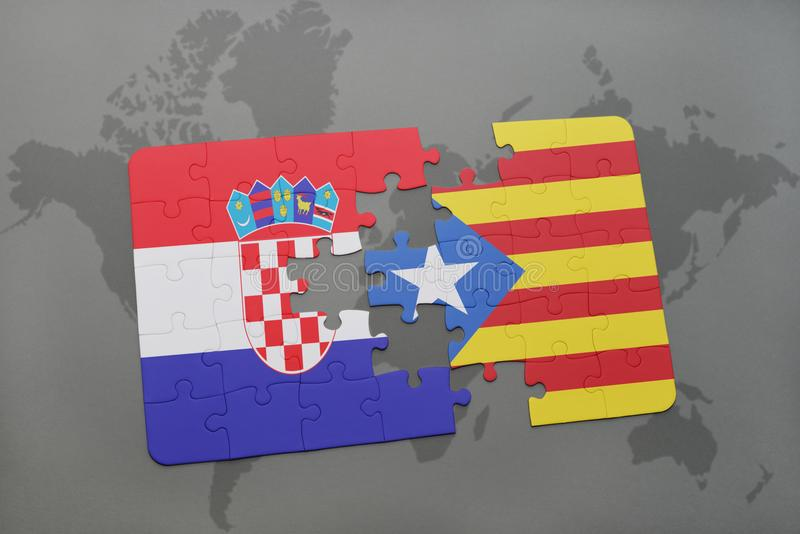 Puzzle with the national flag of croatia and catalonia on a world download puzzle with the national flag of croatia and catalonia on a world map background gumiabroncs Images