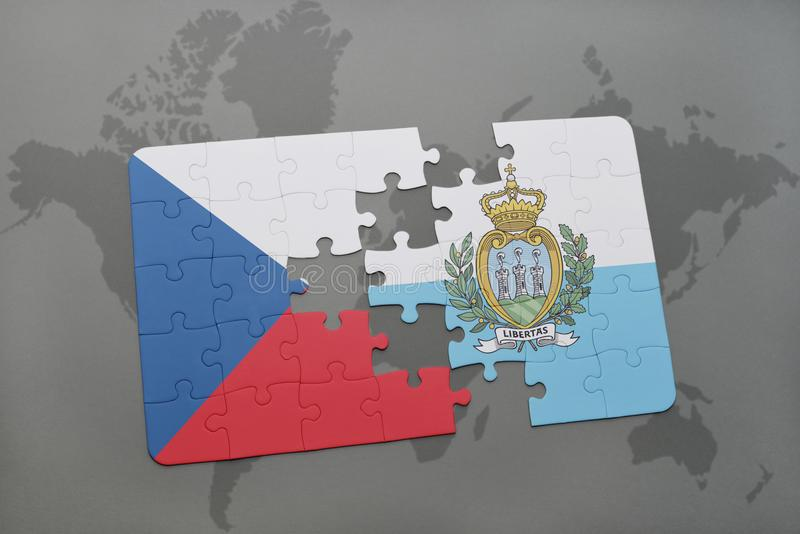 puzzle with the national flag of czech republic and san marino on a world map background. vector illustration
