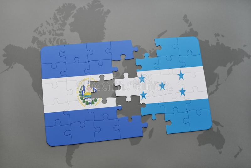 Puzzle with the national flag of el salvador and honduras on a world download puzzle with the national flag of el salvador and honduras on a world map background gumiabroncs Choice Image
