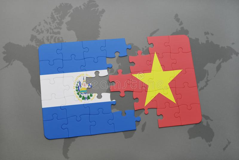 Puzzle with the national flag of el salvador and vietnam on a world download puzzle with the national flag of el salvador and vietnam on a world map stock gumiabroncs Choice Image