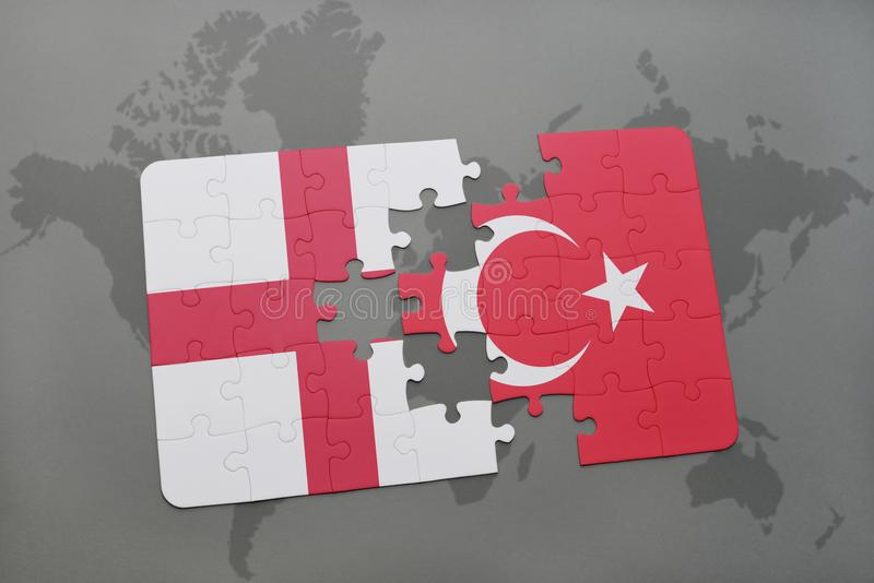 download puzzle with the national flag of england and turkey on a world map background