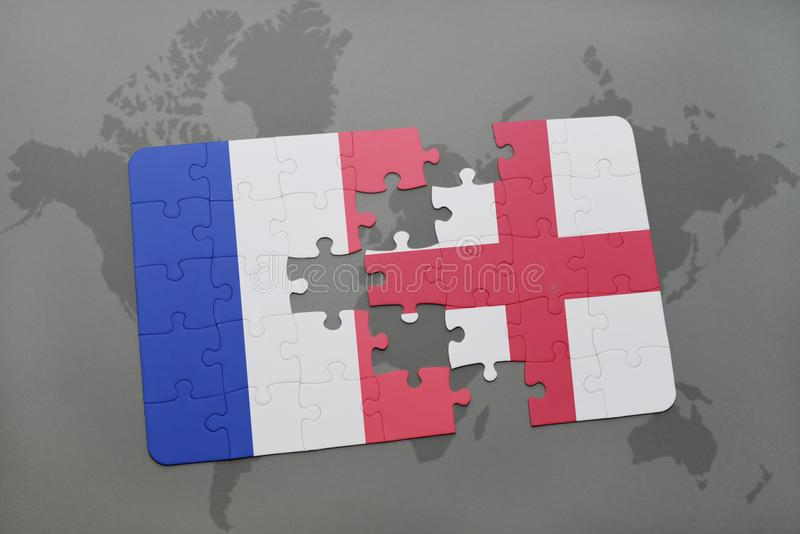Puzzle with the national flag of france and england on a world map download puzzle with the national flag of france and england on a world map background gumiabroncs Gallery