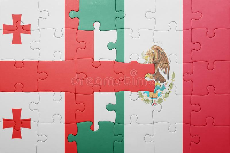 Puzzle with the national flag of georgia and mexico. Concept royalty free stock image