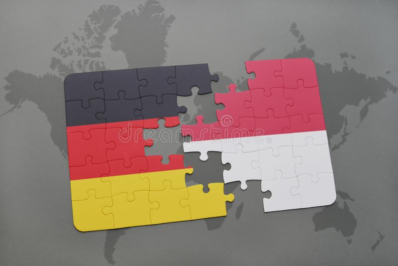 Puzzle with the national flag of germany and indonesia on a world map background. 3D illustration stock photos