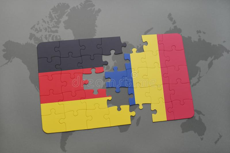 Puzzle with the national flag of germany and romania on a world map background. 3D illustration royalty free stock images
