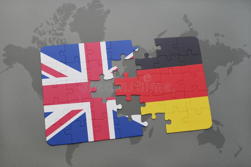 Puzzle with the national flag of great britain and germany on a world map background stock illustration