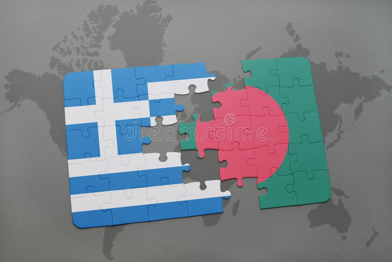 Puzzle with the national flag of greece and bangladesh on a world download puzzle with the national flag of greece and bangladesh on a world map background gumiabroncs Images