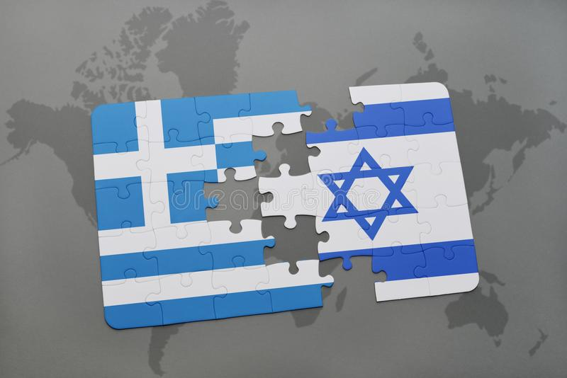 Puzzle with the national flag of greece and israel on a world map download puzzle with the national flag of greece and israel on a world map background gumiabroncs Choice Image