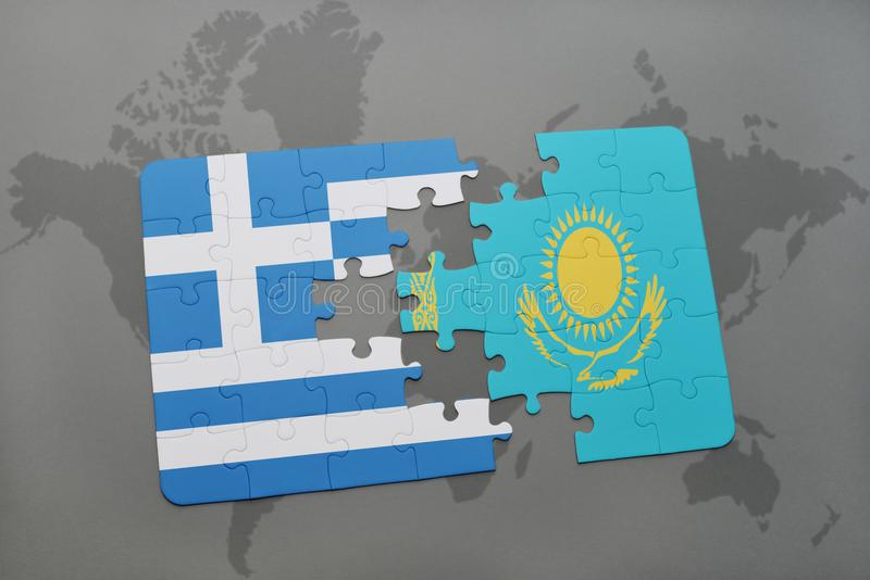 Puzzle with the national flag of greece and kazakhstan on a world map background. 3D illustration royalty free stock images