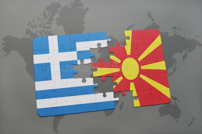 Puzzle with the national flag of greece and macedonia on a world map background. 3D illustration royalty free stock photos