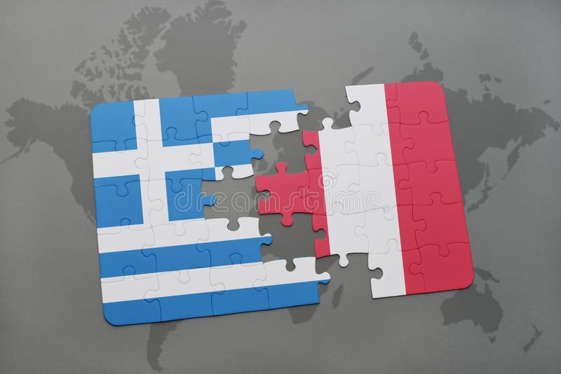 Puzzle with the national flag of greece and peru on a world map background. 3D illustration royalty free stock photography
