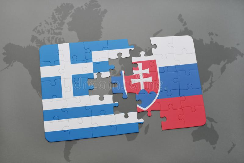 Puzzle with the national flag of greece and slovakia on a world map background. 3D illustration stock images
