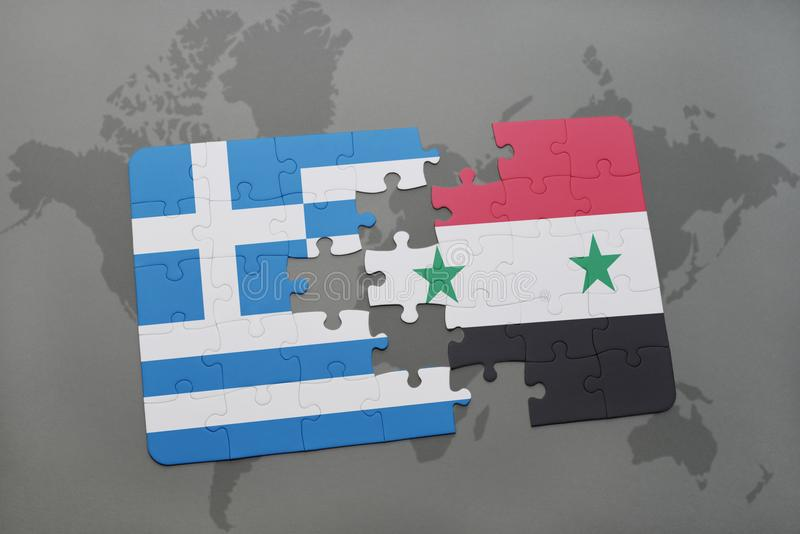 Puzzle with the national flag of greece and syria on a world map download puzzle with the national flag of greece and syria on a world map background gumiabroncs Choice Image