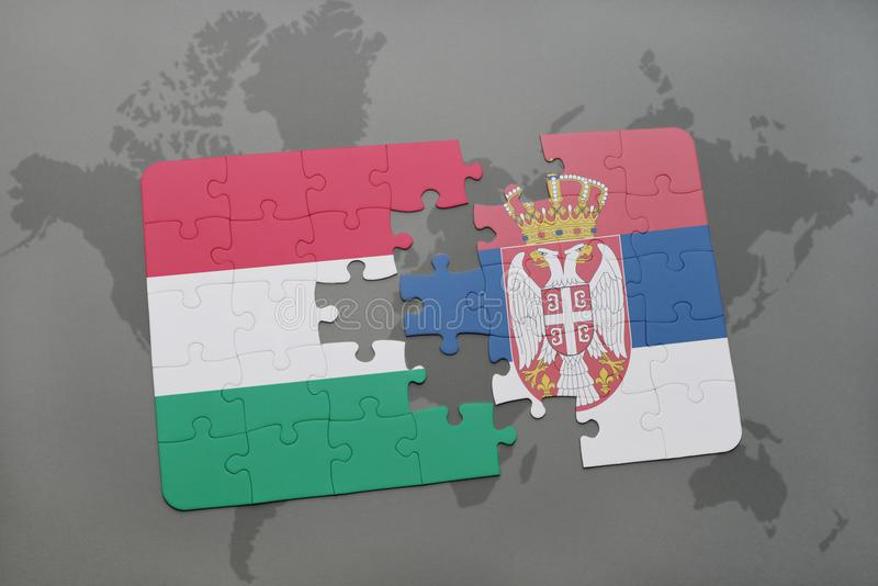 Puzzle with the national flag of hungary and serbia on a world map download puzzle with the national flag of hungary and serbia on a world map background gumiabroncs Image collections