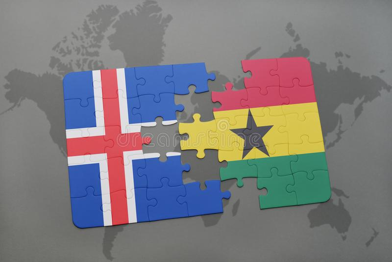 Puzzle with the national flag of iceland and ghana on a world map download puzzle with the national flag of iceland and ghana on a world map stock image gumiabroncs Choice Image