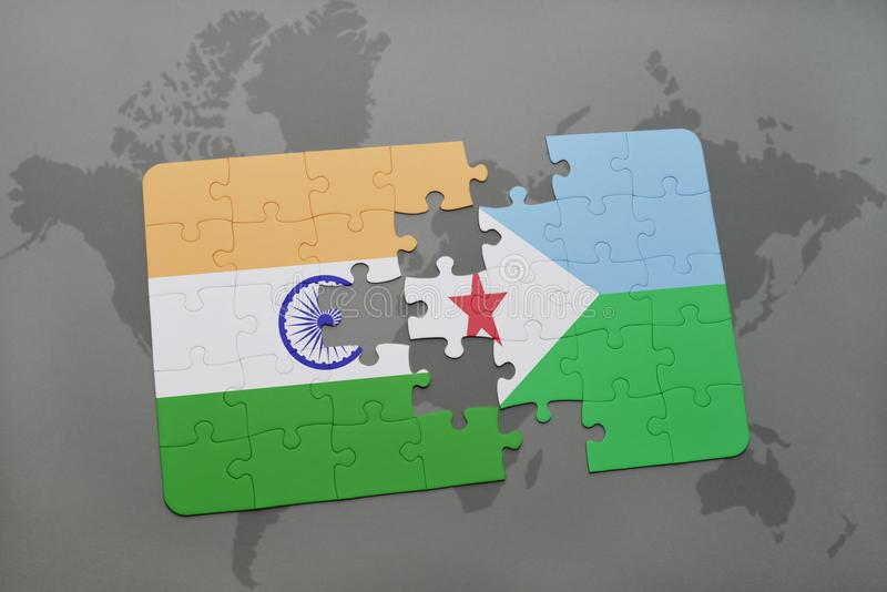 Puzzle with the national flag of india and djibouti on a world map download puzzle with the national flag of india and djibouti on a world map background gumiabroncs Choice Image