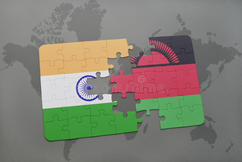 puzzle with the national flag of india and malawi on a world map background. stock illustration