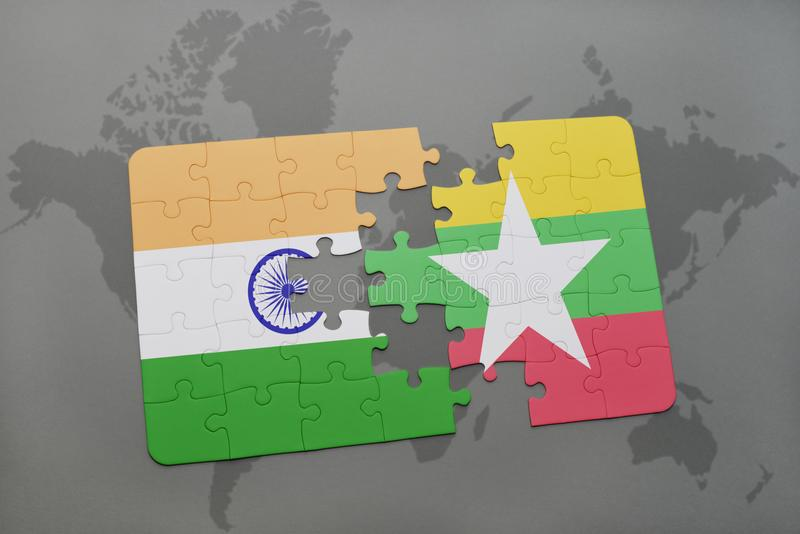 Puzzle with the national flag of india and myanmar on a world map download puzzle with the national flag of india and myanmar on a world map background gumiabroncs Image collections