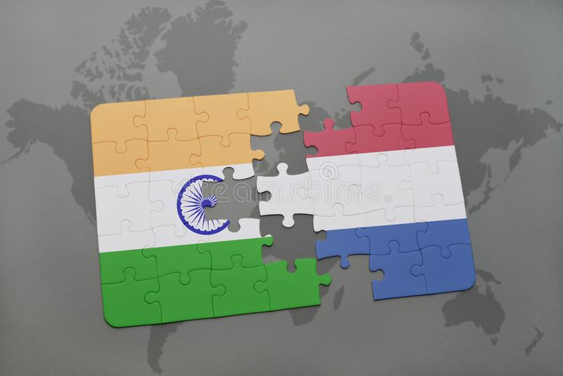 Puzzle With The National Flag Of India And Netherlands On A World