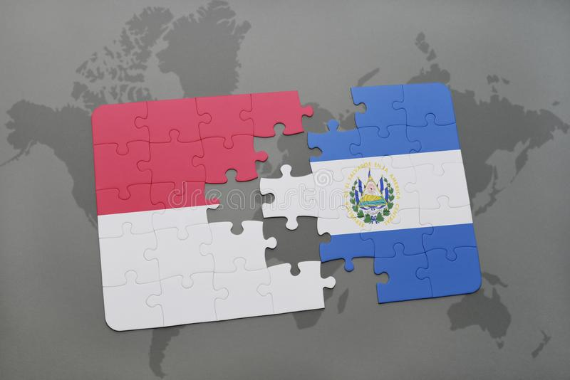 Puzzle with the national flag of indonesia and el salvador on a download puzzle with the national flag of indonesia and el salvador on a world map background gumiabroncs Image collections