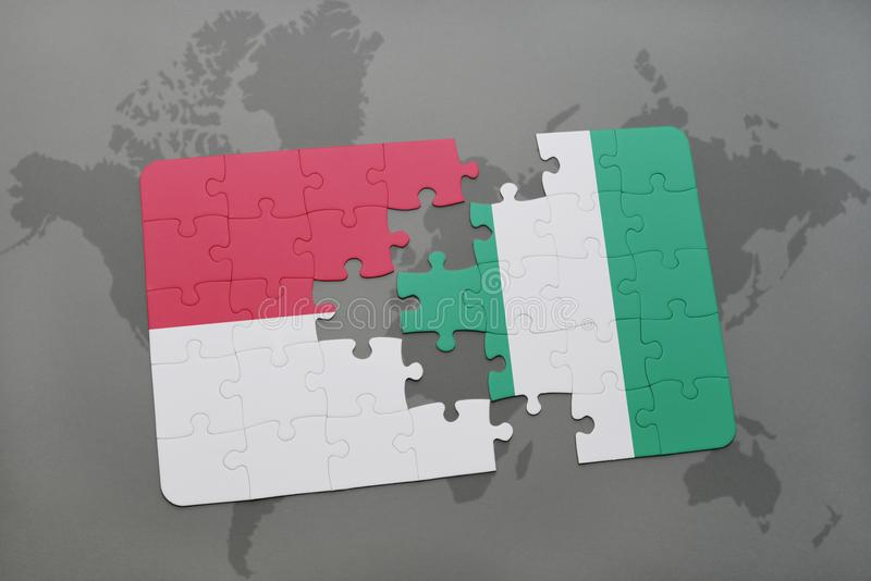 Puzzle with the national flag of indonesia and nigeria on a world map background. vector illustration