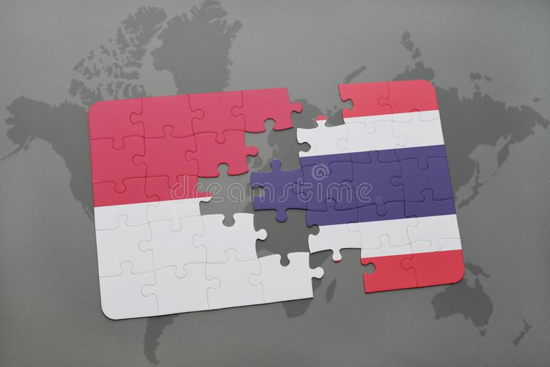 Puzzle with the national flag of indonesia and thailand on a world download puzzle with the national flag of indonesia and thailand on a world map background gumiabroncs Choice Image