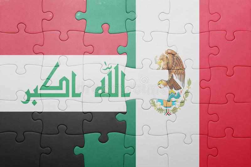 Puzzle with the national flag of iraq and mexico. Concept stock images