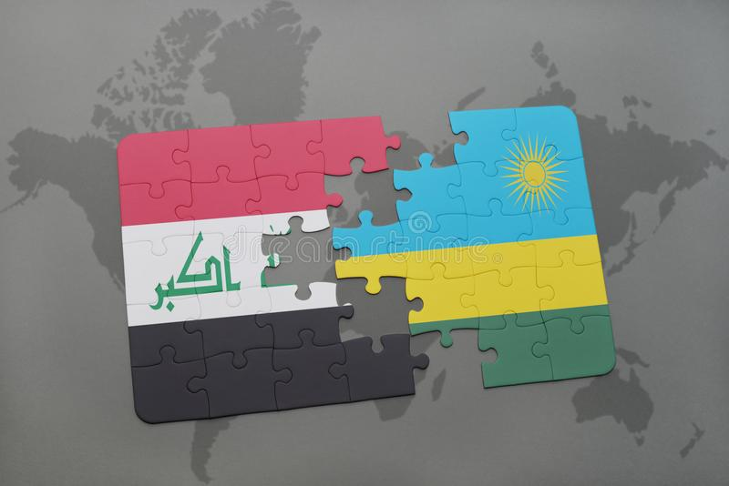 Puzzle with the national flag of iraq and rwanda on a world map background. stock illustration