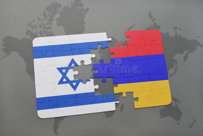 puzzle with the national flag of israel and armenia on a world map background. stock illustration