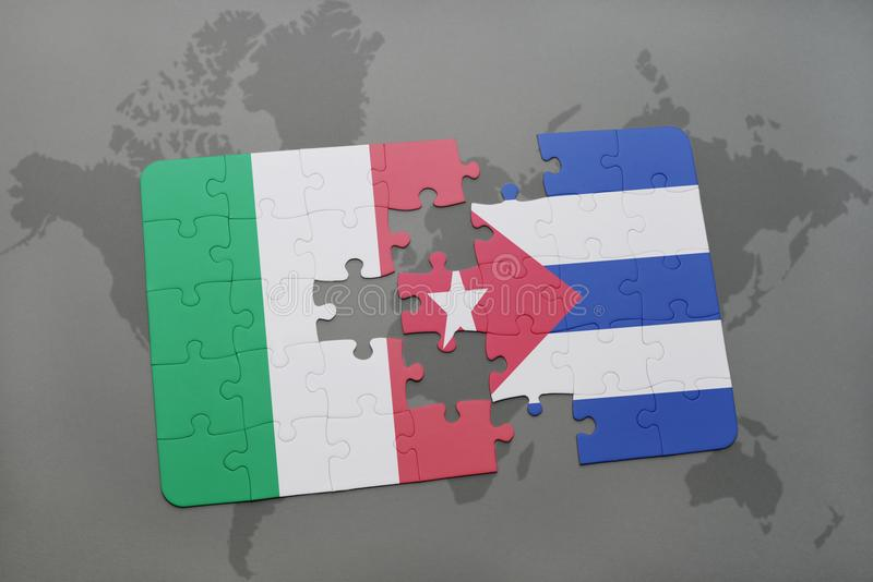 puzzle with the national flag of italy and cuba on a world map background. vector illustration