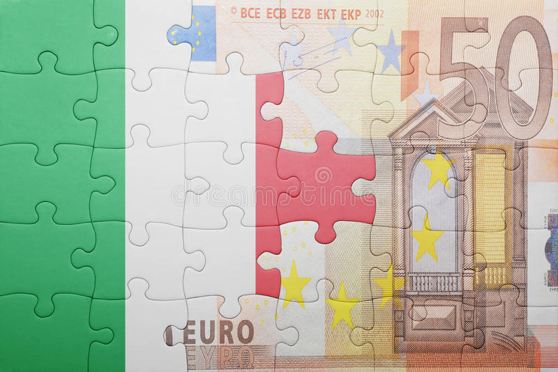 Puzzle with the national flag of italy and euro banknote. Concept stock photography