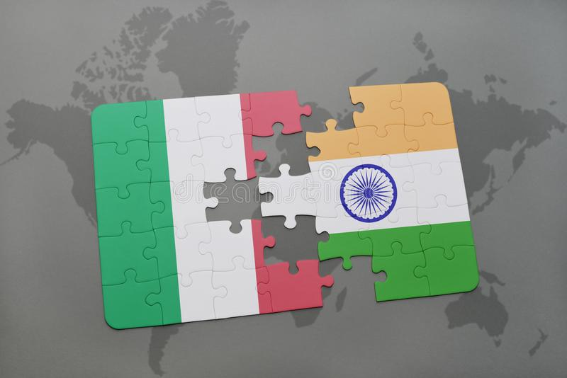 Puzzle with the national flag of italy and india on a world map download puzzle with the national flag of italy and india on a world map background gumiabroncs Choice Image