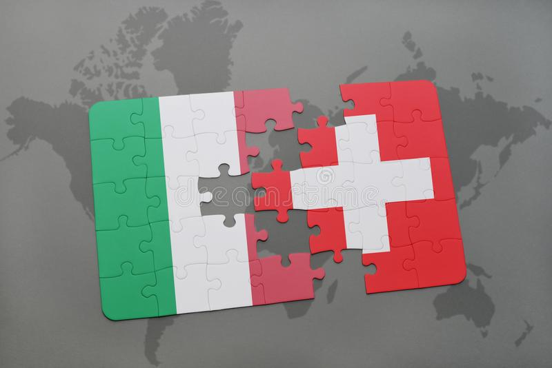 Puzzle with the national flag of italy and switzerland on a world download puzzle with the national flag of italy and switzerland on a world map background gumiabroncs Choice Image