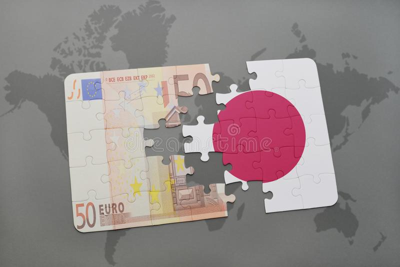 puzzle with the national flag of japan and euro banknote on a world map background. royalty free illustration