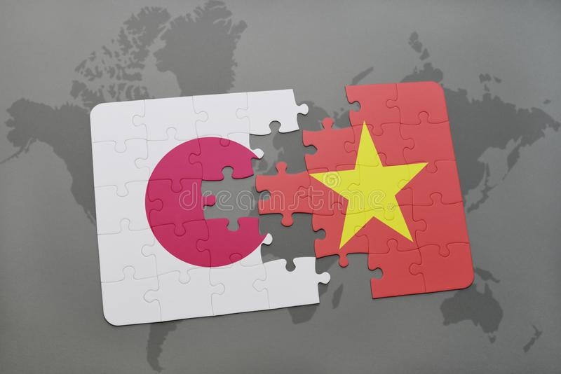 Puzzle with the national flag of japan and vietnam on a world map download puzzle with the national flag of japan and vietnam on a world map background gumiabroncs Images