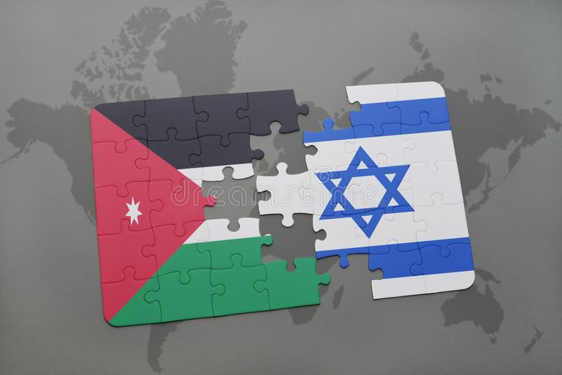 Puzzle with the national flag of jordan and israel on a world map download puzzle with the national flag of jordan and israel on a world map background gumiabroncs Images