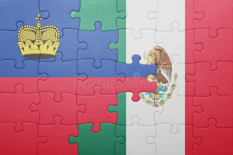 Puzzle with the national flag of liechtenstein and mexico. Concept royalty free stock photos