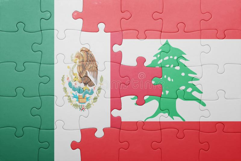 Puzzle with the national flag of mexico and lebanon. Concept royalty free stock image