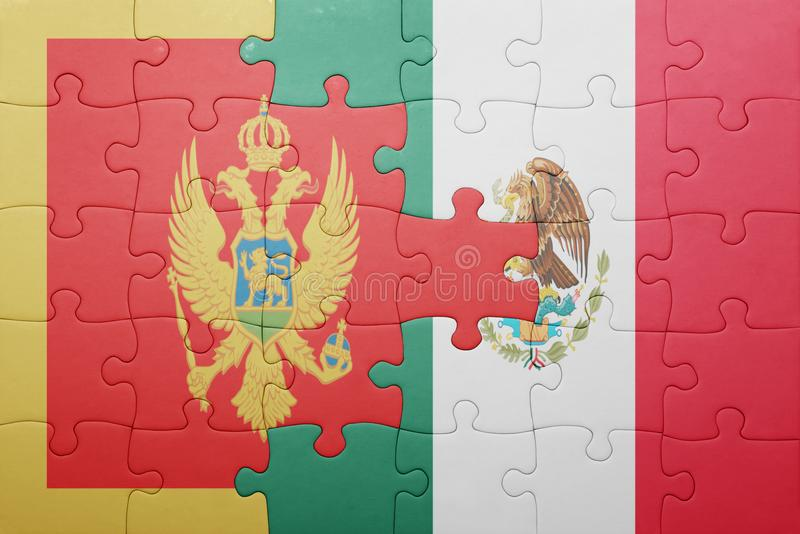 Puzzle with the national flag of montenegro and mexico. Concept royalty free stock photo