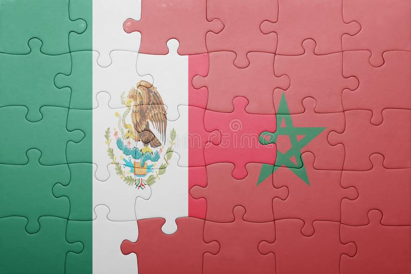 Puzzle with the national flag of morocco and mexico . Concept stock photo