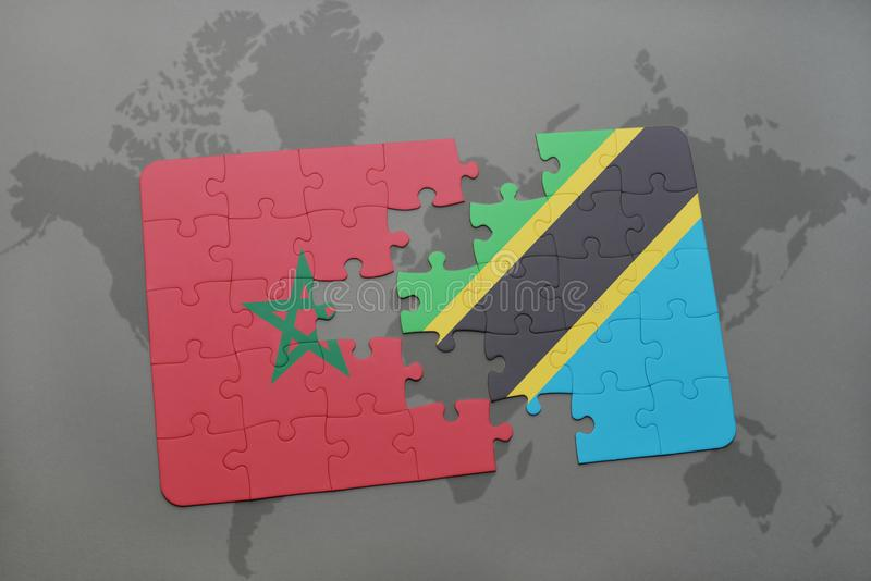 Puzzle with the national flag of morocco and tanzania on a world map download puzzle with the national flag of morocco and tanzania on a world map stock photo gumiabroncs Choice Image