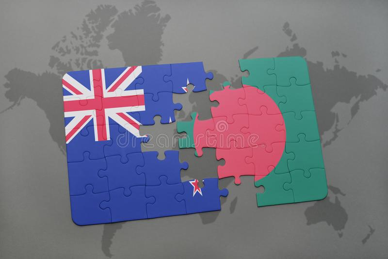 Puzzle with the national flag of new zealand and bangladesh on a download puzzle with the national flag of new zealand and bangladesh on a world map background gumiabroncs Image collections