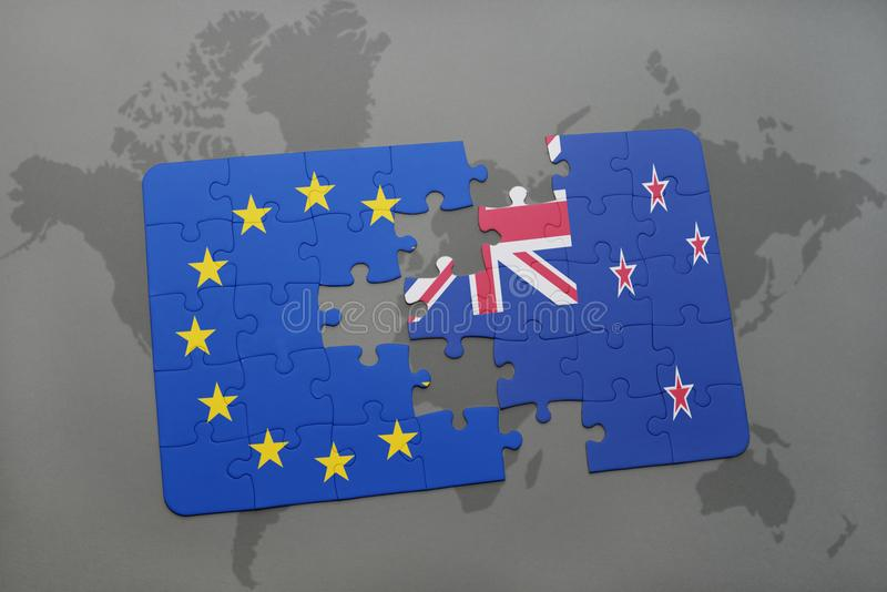 Puzzle with the national flag of new zealand and european union on a download puzzle with the national flag of new zealand and european union on a world map gumiabroncs Image collections