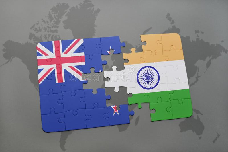 Puzzle with the national flag of new zealand and india on a world download puzzle with the national flag of new zealand and india on a world map background gumiabroncs Images
