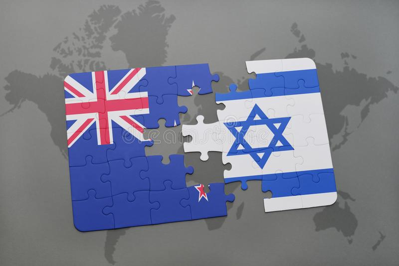 Puzzle with the national flag of new zealand and israel on a world map background. 3D illustration stock illustration