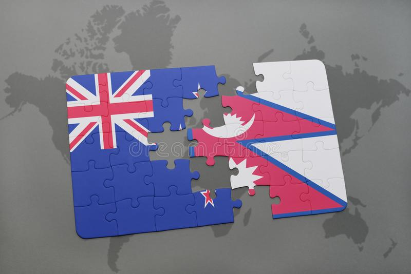Puzzle with the national flag of new zealand and nepal on a world download puzzle with the national flag of new zealand and nepal on a world map background gumiabroncs Choice Image